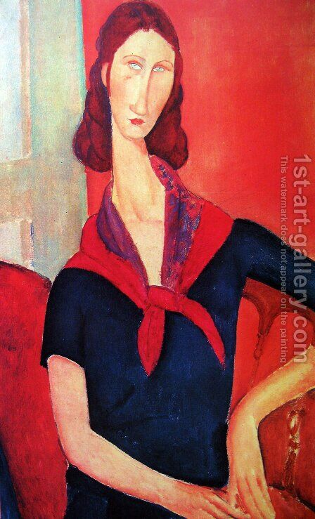Jeanne Hebuterne in a Scarf 2 by Amedeo Modigliani - Reproduction Oil Painting