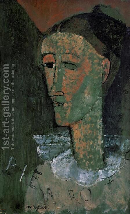 Pierrot (aka Self Portrait as Pierrot) by Amedeo Modigliani - Reproduction Oil Painting