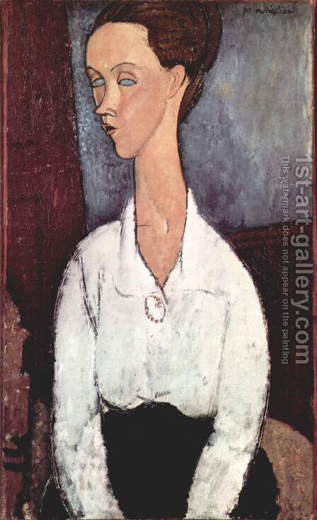 Portrait of Lunia Czechowska with white blouse by Amedeo Modigliani - Reproduction Oil Painting