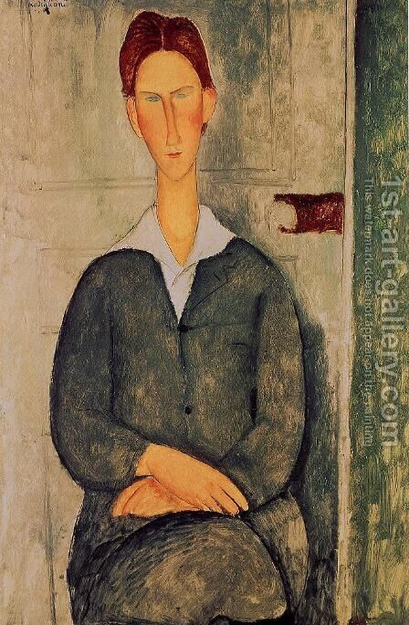 Readhead Young Man by Amedeo Modigliani - Reproduction Oil Painting
