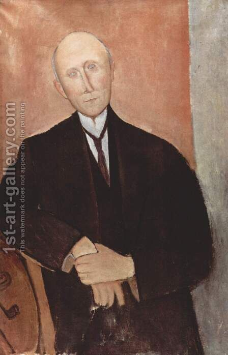 Seated before an orange background man by Amedeo Modigliani - Reproduction Oil Painting