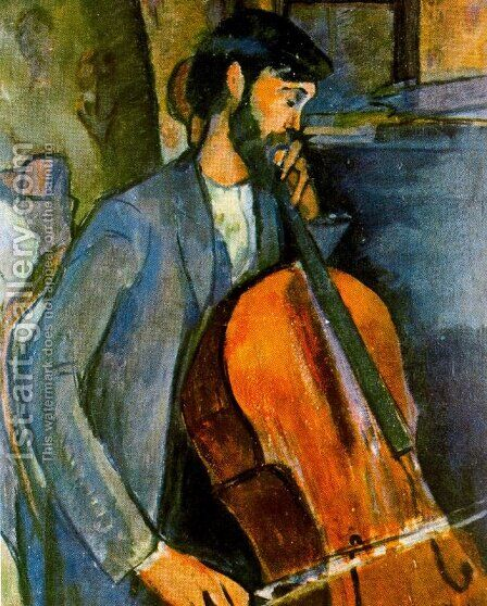 The Cellist 1 by Amedeo Modigliani - Reproduction Oil Painting