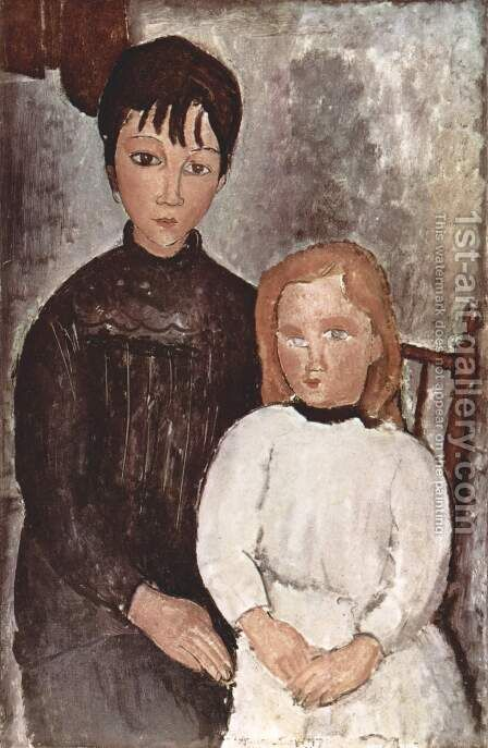 Two girls by Amedeo Modigliani - Reproduction Oil Painting