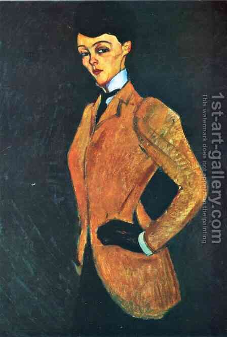 Woman in Yellow Jacket (The Amazon) by Amedeo Modigliani - Reproduction Oil Painting