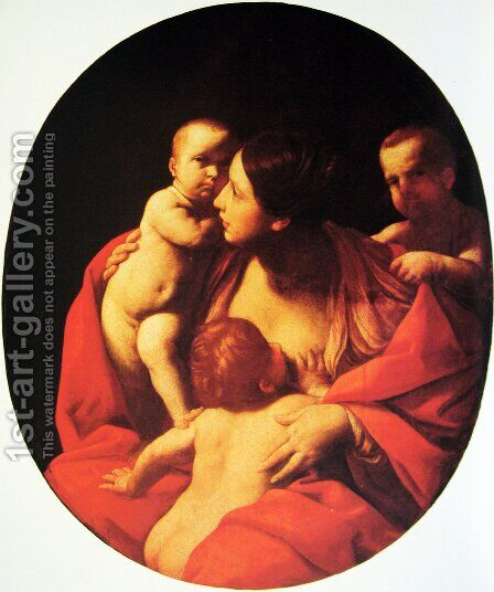 Caritas, Oval by Guido Reni - Reproduction Oil Painting