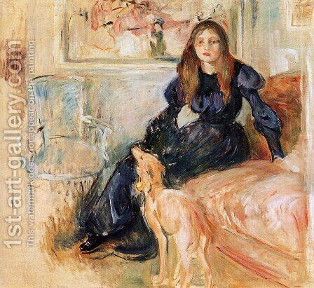Julie Manet and Her Greyhound, Laertes by Berthe Morisot - Reproduction Oil Painting