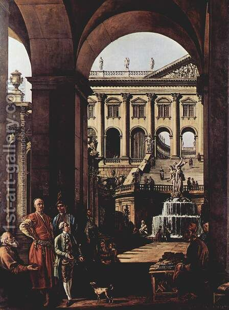 Capriccio, castle gate, loggia and big Fontaine in Vojoda Potocki by Bernardo Bellotto (Canaletto) - Reproduction Oil Painting