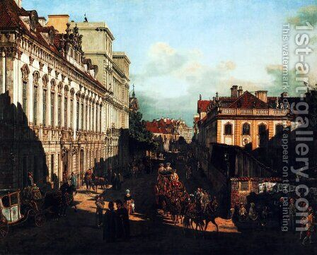 Miodowa Street (Warsaw) by Bernardo Bellotto (Canaletto) - Reproduction Oil Painting
