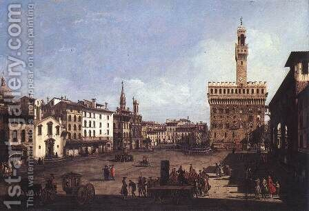 Signoria Square in Florence by Bernardo Bellotto (Canaletto) - Reproduction Oil Painting