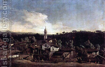 The village Gazzada view of the south (Vedute of Gazzada) by Bernardo Bellotto (Canaletto) - Reproduction Oil Painting