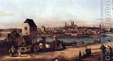 View from Munich, The Bridge gate and the Isar, Munich Heidhausen view by Bernardo Bellotto (Canaletto) - Reproduction Oil Painting