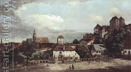 View from Pirna, Pirna from the south side view, with fortifications and Oberstar (gate), and sun stone fort 3 by Bernardo Bellotto (Canaletto) - Reproduction Oil Painting