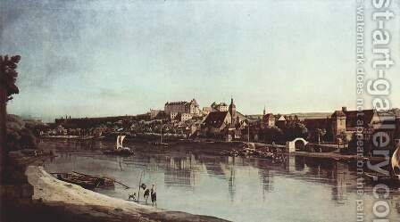 View from Pirna, Pirna of Kopitz, with Fortress Sonnenstein by Bernardo Bellotto (Canaletto) - Reproduction Oil Painting