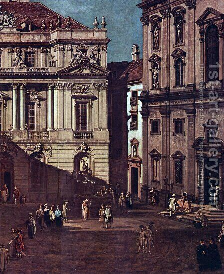 View from Vienna, square in front of the university, from southeast of view, with the large auditorium of th by Bernardo Bellotto (Canaletto) - Reproduction Oil Painting