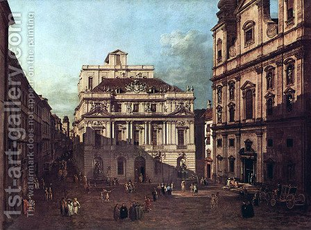 View from Vienna, square in front of the university, from southeast of view, with the large auditorium of th 2 by Bernardo Bellotto (Canaletto) - Reproduction Oil Painting