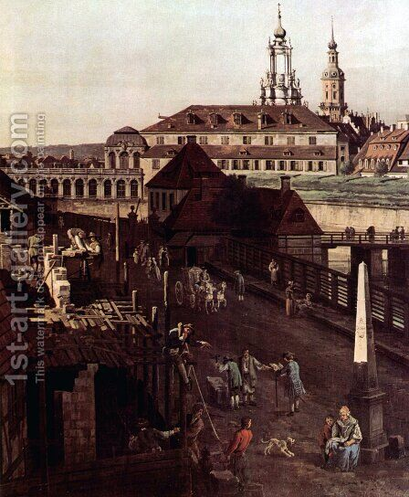 View of Dresden, The Fortress plants in Dresden, with a moat between Wilschen Gate Bridge and Post miles pil by Bernardo Bellotto (Canaletto) - Reproduction Oil Painting