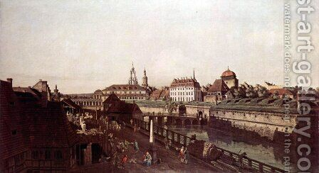View of Dresden, The Fortress plants in Dresden, with a moat between Wilschen Gate Bridge and Post miles pil 3 by Bernardo Bellotto (Canaletto) - Reproduction Oil Painting