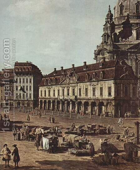 View of Dresden, the Neumarkt the street from Moritz, Detail by Bernardo Bellotto (Canaletto) - Reproduction Oil Painting