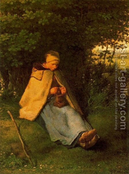 Woman making Cross-stitch by Jean-Francois Millet - Reproduction Oil Painting