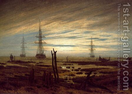 Ships at Anchar by Caspar David Friedrich - Reproduction Oil Painting