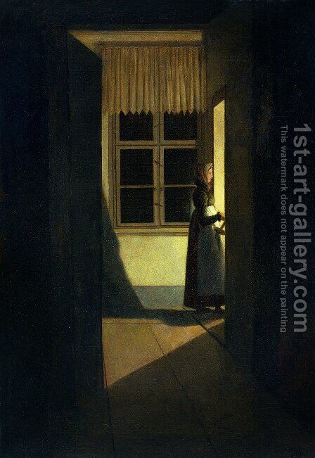 Woman with Candlestick by Caspar David Friedrich - Reproduction Oil Painting