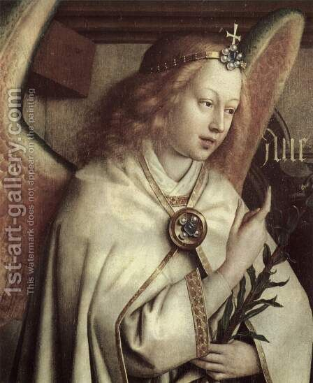 Annunciation angel, detail by Jan Van Eyck - Reproduction Oil Painting