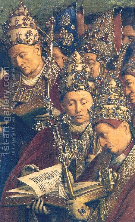 Ghent Altarpiece, Popes and Bishops (detail) by Jan Van Eyck - Reproduction Oil Painting