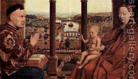 The Virgin of Chancellor Rolin (detail 1) by Jan Van Eyck - Reproduction Oil Painting