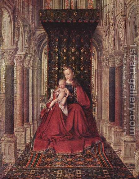 Marienplatz altar, Dresdner triptych, middle panel, Mary with child by Jan Van Eyck - Reproduction Oil Painting