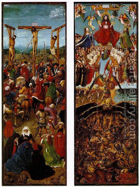 The Crucifixion, The Last Judgment by Jan Van Eyck - Reproduction Oil Painting