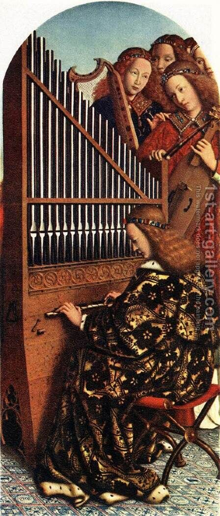 The Ghent Altarpiece, Angels Playing Music by Jan Van Eyck - Reproduction Oil Painting