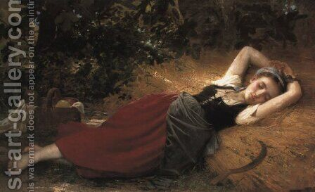 A young peasant girl, sleeping by Leon-Jean-Basile Perrault - Reproduction Oil Painting