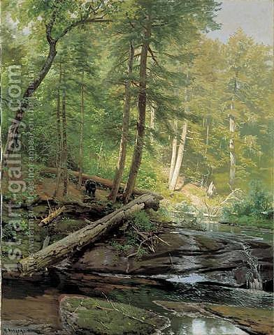Bear Approaching a Forest Stream by Herman Herzog - Reproduction Oil Painting
