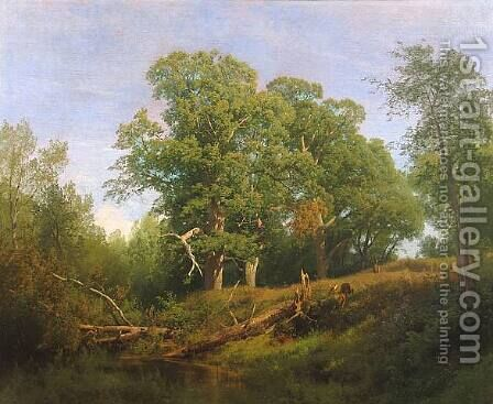 Deer in a Wooded Landscape by Herman Herzog - Reproduction Oil Painting