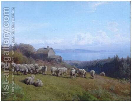 Flock of Sheep at Crabtree Point by Herman Herzog - Reproduction Oil Painting