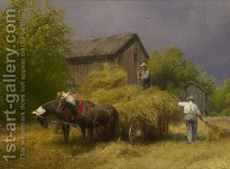 Making Hay While the Sun Shines by Herman Herzog - Reproduction Oil Painting