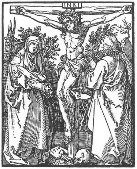 Christ on the Cross with the Virgin and St John by Albrecht Durer - Reproduction Oil Painting