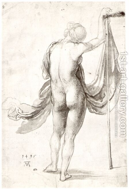 Female Nude from Behind by Albrecht Durer - Reproduction Oil Painting