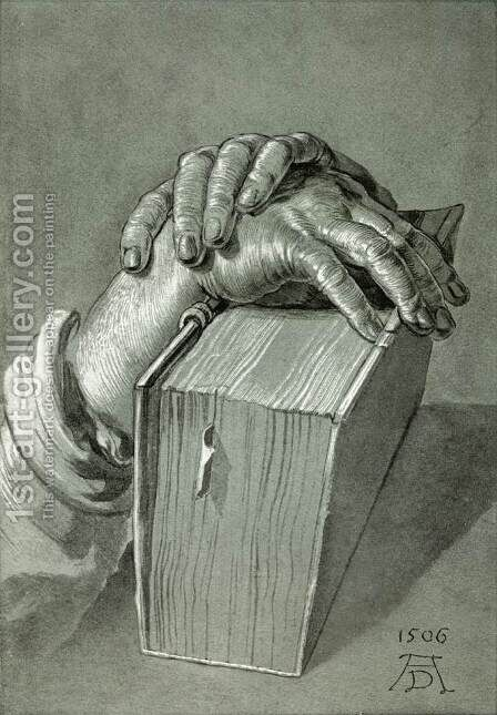 Hand Study with Bible by Albrecht Durer - Reproduction Oil Painting