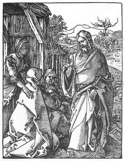 Small Passion, 05. Christ Taking Leave of His Mother by Albrecht Durer - Reproduction Oil Painting