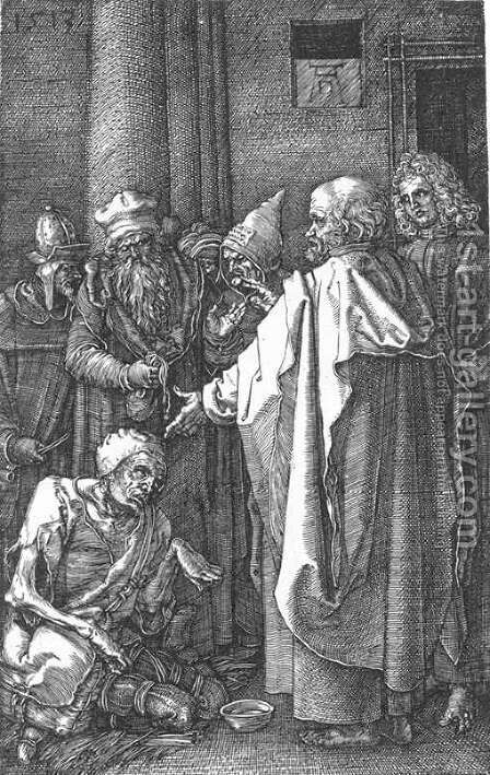 St Peter and St John Healing the Cripple (No. 16) by Albrecht Durer - Reproduction Oil Painting