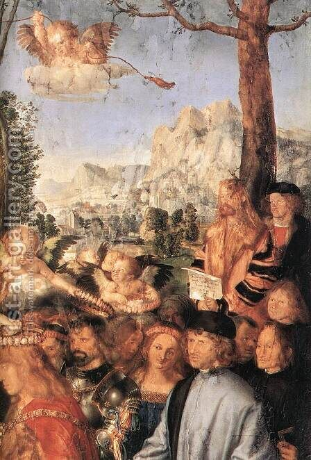 Feast of the Rose Garlands (detail 2) by Albrecht Durer - Reproduction Oil Painting