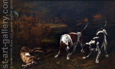 Hunting Dogs by Gustave Courbet - Reproduction Oil Painting