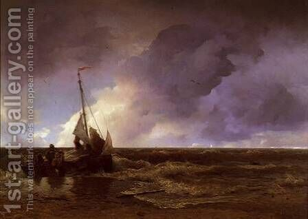 Coming Ashore by Andreas Achenbach - Reproduction Oil Painting