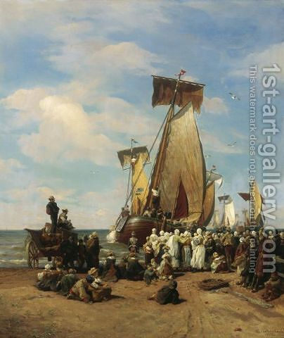Departure of herring fleet in Scheveningen by Andreas Achenbach - Reproduction Oil Painting