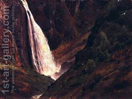 Mountainous landscape with a waterfall by Andreas Achenbach - Reproduction Oil Painting