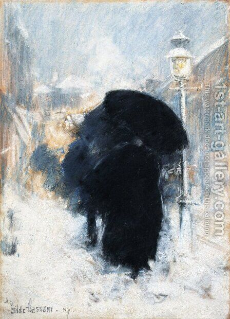 A New York Blizzard by Childe Hassam - Reproduction Oil Painting