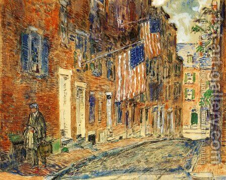 Acorn Street, Boston by Childe Hassam - Reproduction Oil Painting