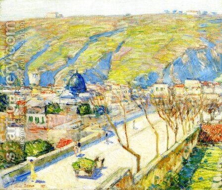 Bridge at Posilippo, Naples by Childe Hassam - Reproduction Oil Painting