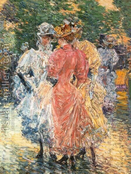Conversation on the Avenue by Childe Hassam - Reproduction Oil Painting
